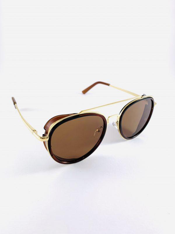 Pilotbrillor i guld och brunt och polariserande glas