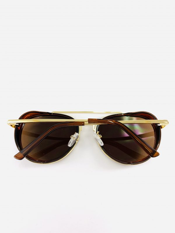 Pilotbrillor i brunt och guld
