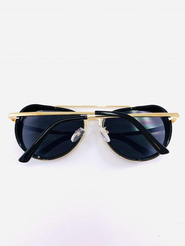 Pilotglasögon i blanksvart och guld