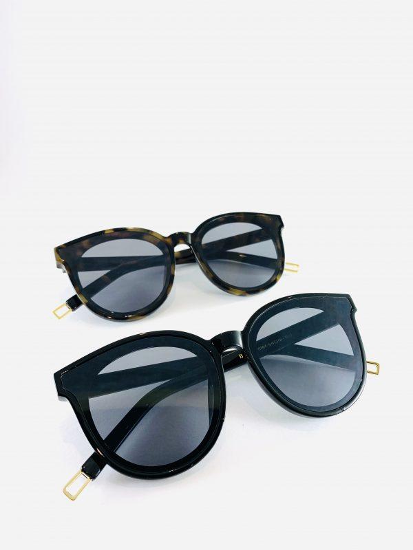 Elly - Solglasögon med bågar i leopardmönster och blanksvart